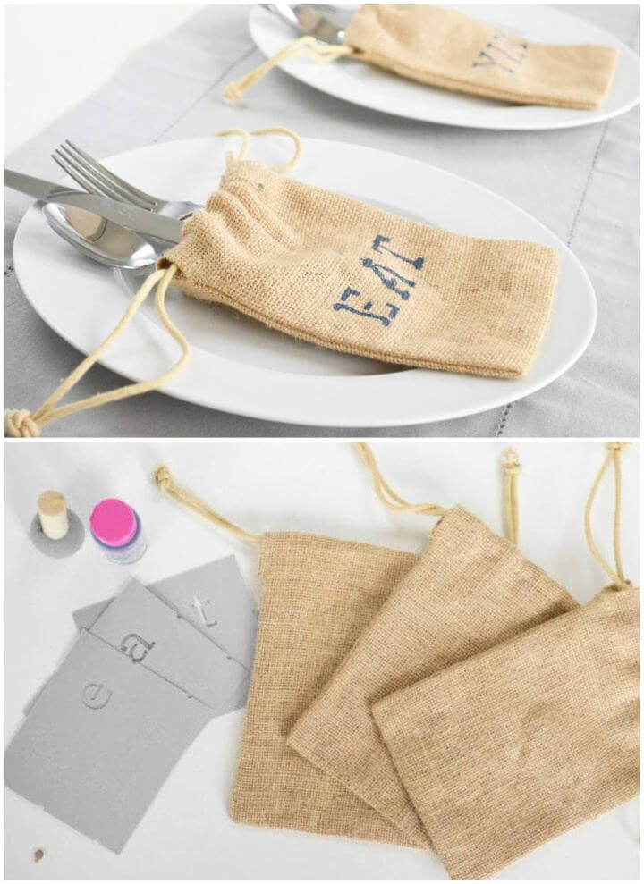 Cute DIY Burlap Utensil Holders