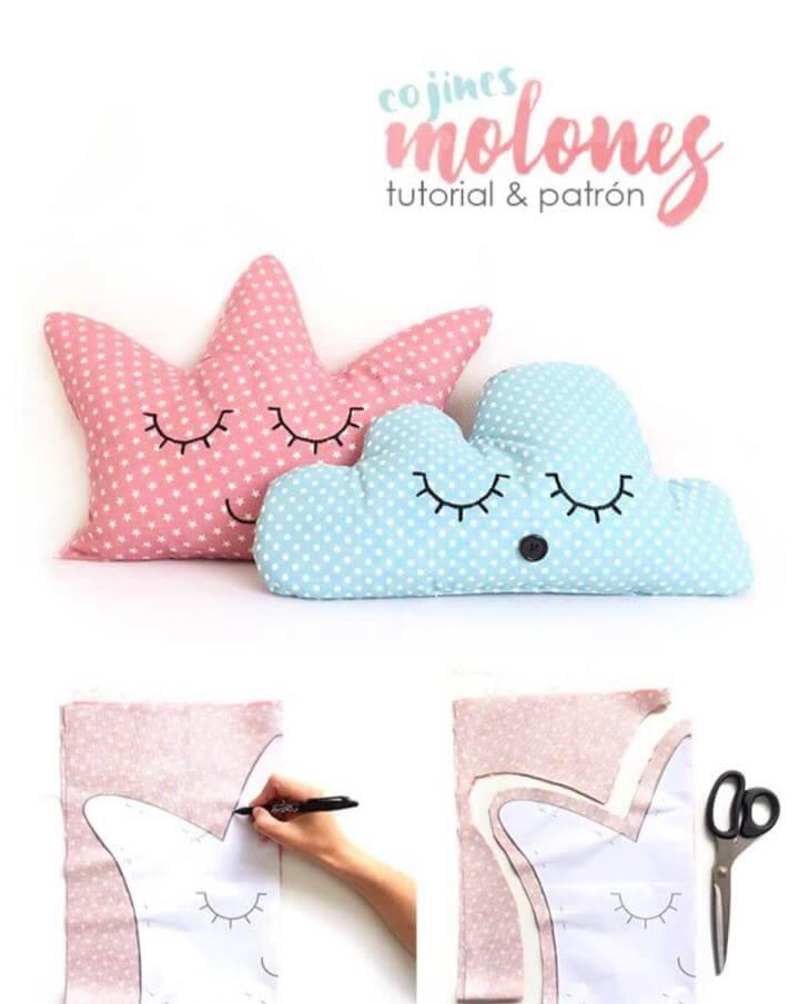 Cute DIY Crown and Cloud Kids' Pillows