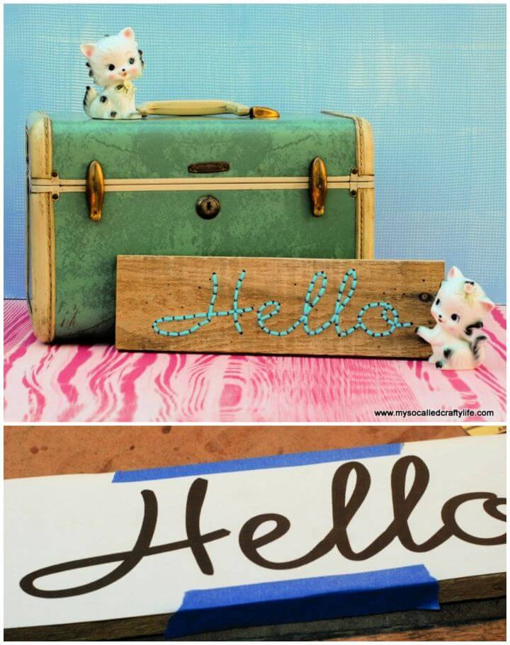 cute diy embroidered, pallet wood art, home signs, diy ideas,