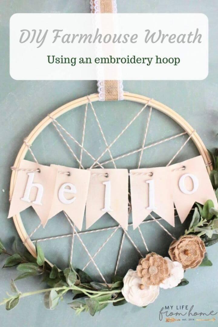Cute DIY Embroidery Hoop Wreath