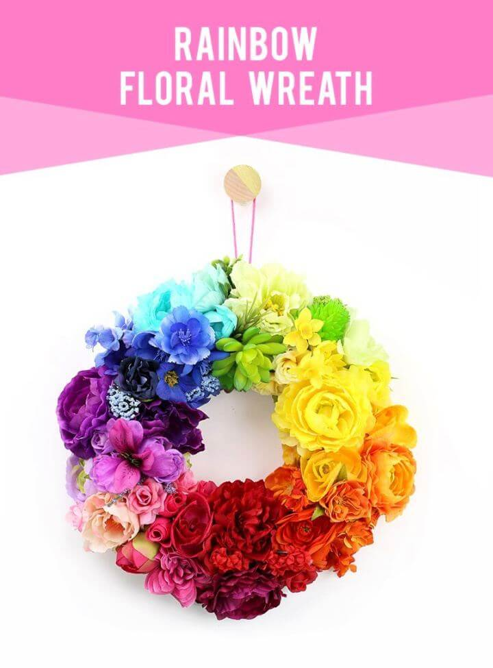 Cute DIY Floral Rainbow Spring Wreath