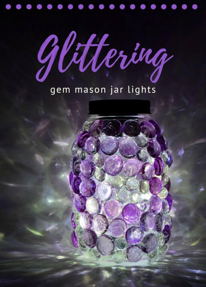 Cute DIY Glittering Gem Mason Jars Lights