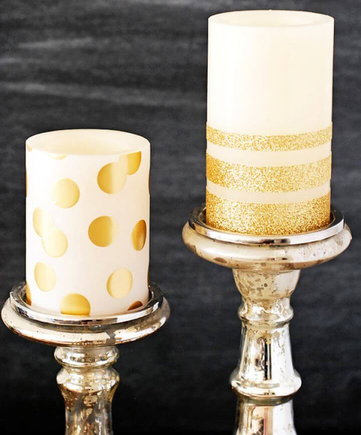 Cute DIY Gold Glitter Candles