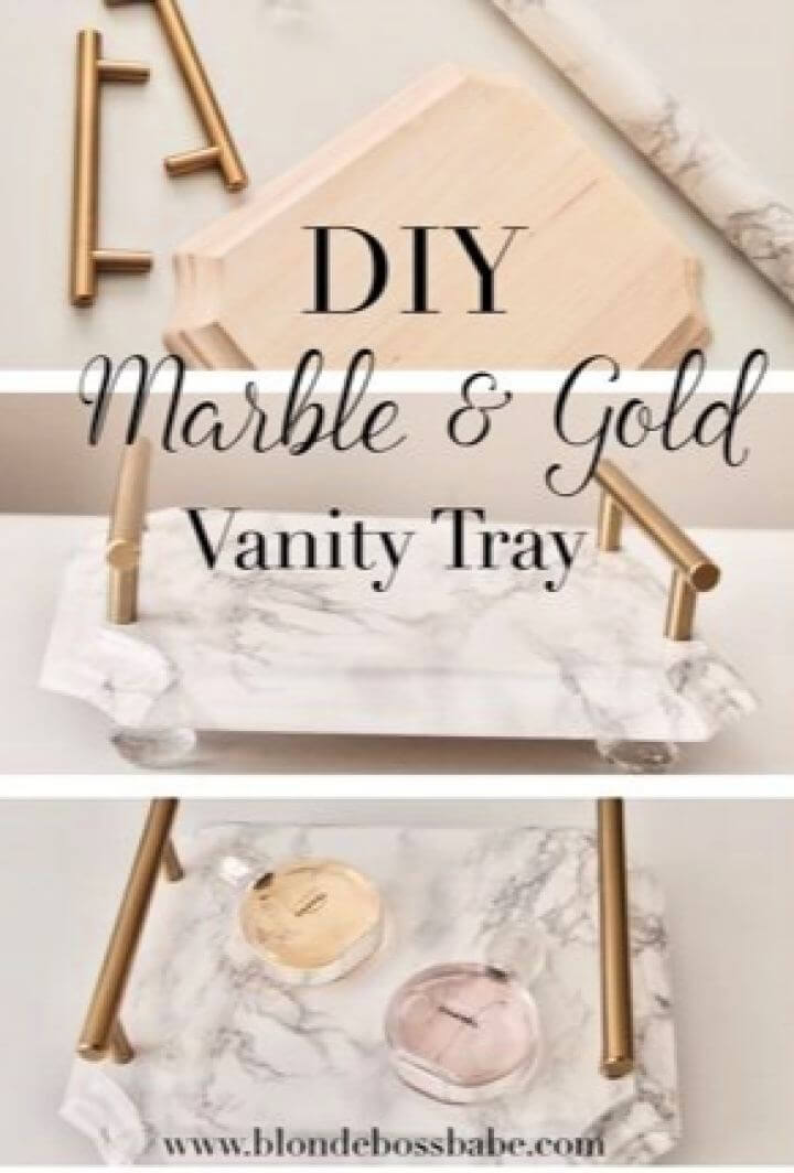 Cute DIY Marble Gold Vanity Tray