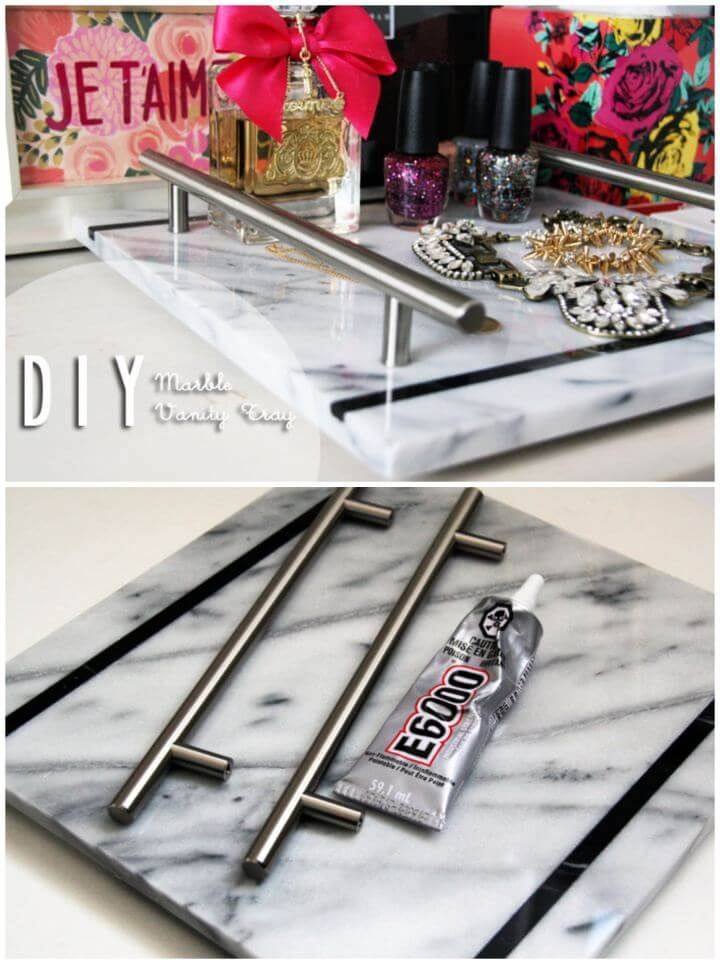 Cute DIY Marble Slab Vanity Tray