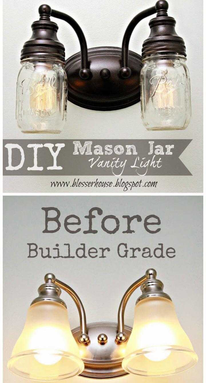 Cute DIY Mason Jar Vanity Light