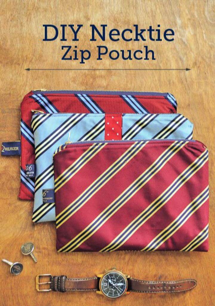 Cute DIY Necktie Zip Pouch For Him