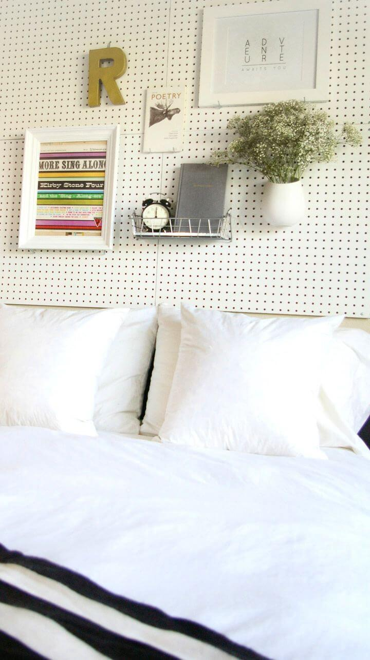 Cute DIY Pegboard Headboard