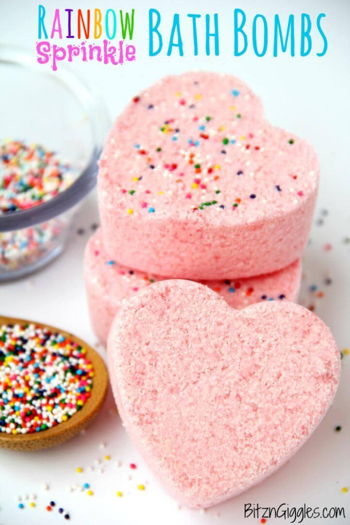 Cute DIY Rainbow Sprinkle Bath Bombs Gift