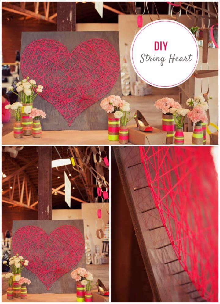 Cute DIY String Heart Step By Step Tutorial
