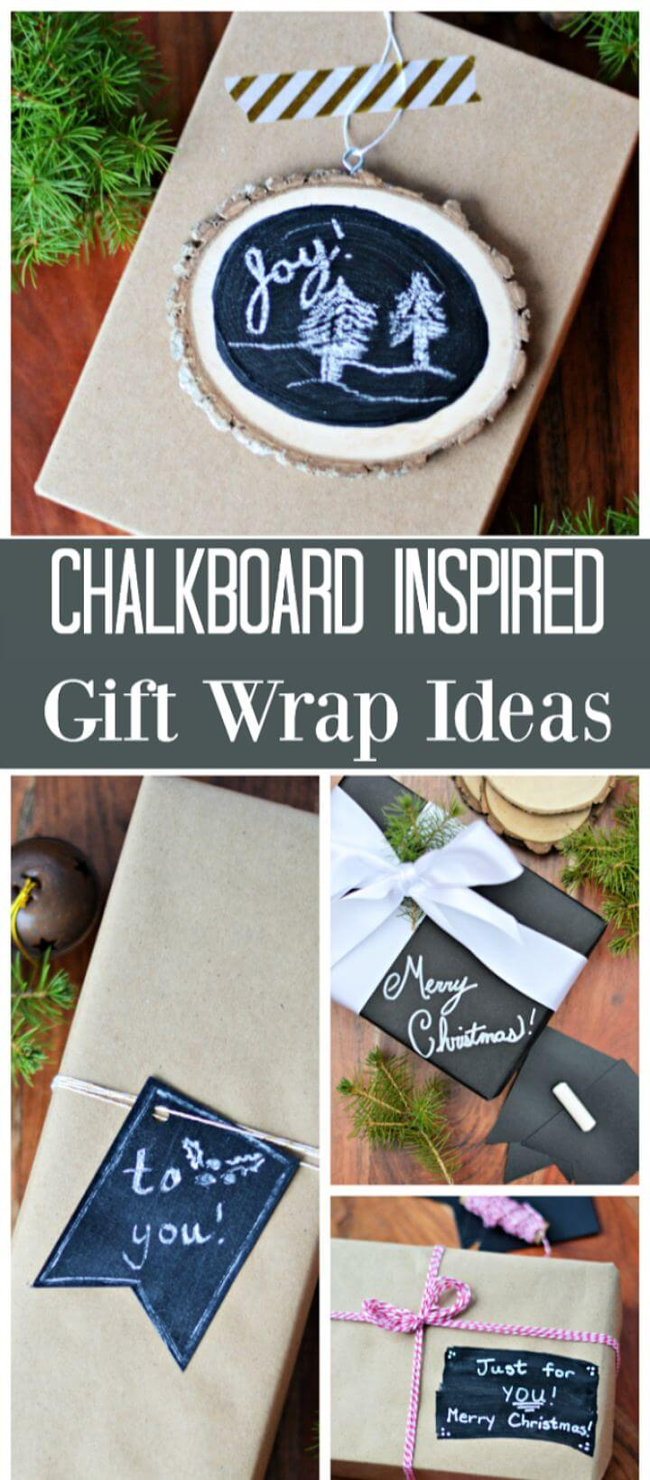 DIY 10 Minute Chalkboard Inspired Gift Wrap