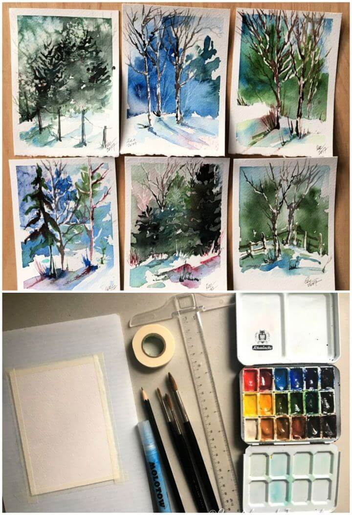 DIY 10 Minute Winter Woodland Watercolor Tutorial, watercolor tutorial diy, crafts, creative diys,
