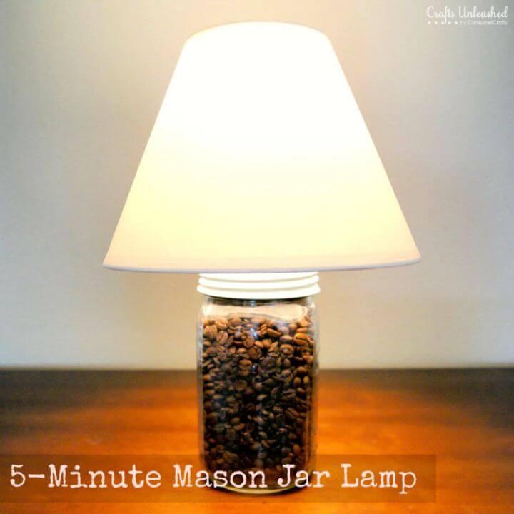 DIY 5 Minute Mason Jar Lamp Tutorial