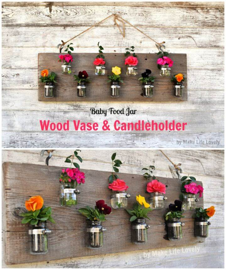 DIY Baby Food Jar Wall Vase Candleholder