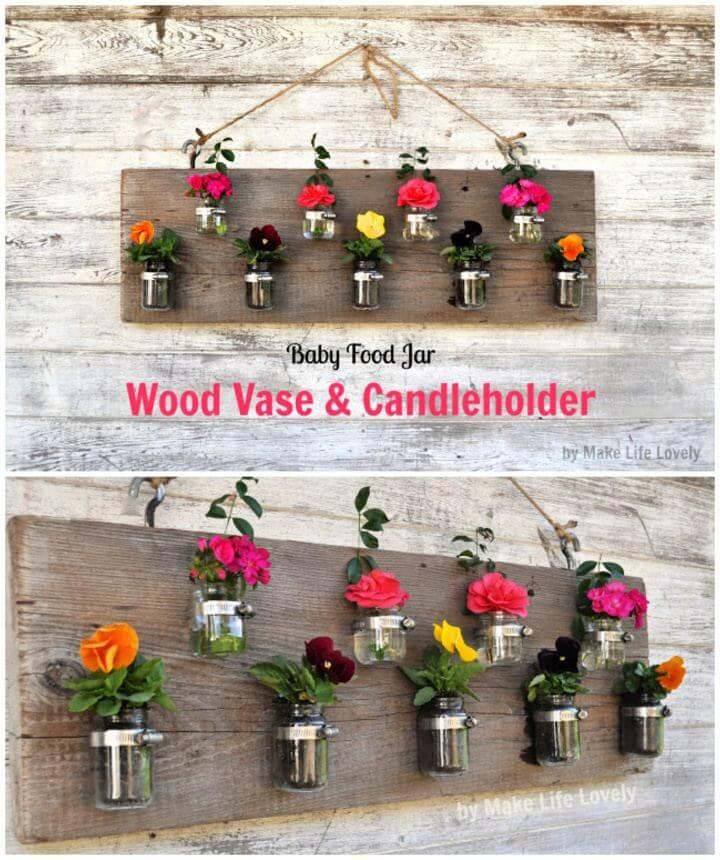 DIY Baby Food Jar Wall Vase Candleholder