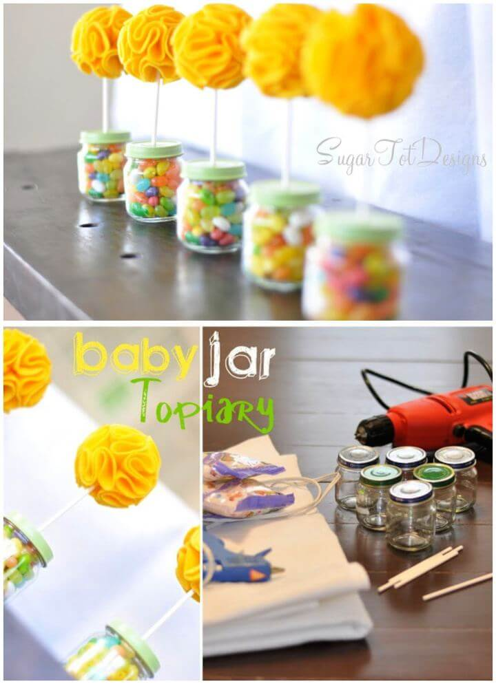DIY Baby Jar Topiary Felt Flower Tutorial