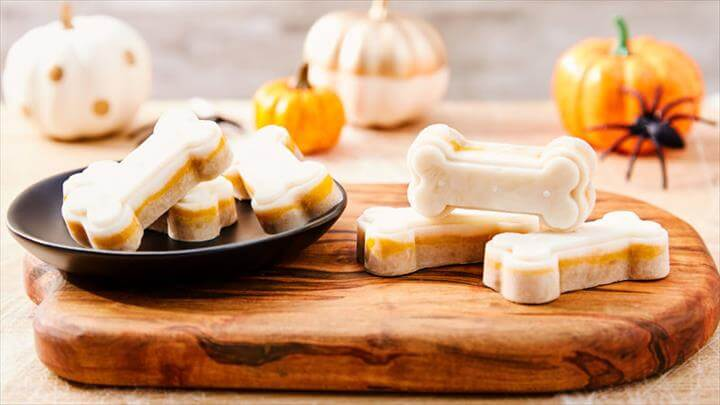 DIY Frozen Candy Corn Bones Homemade Dog Treat Recipe