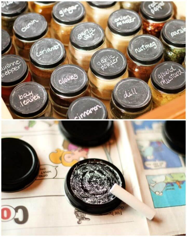 DIY Chalkboard Paint Spice Jars