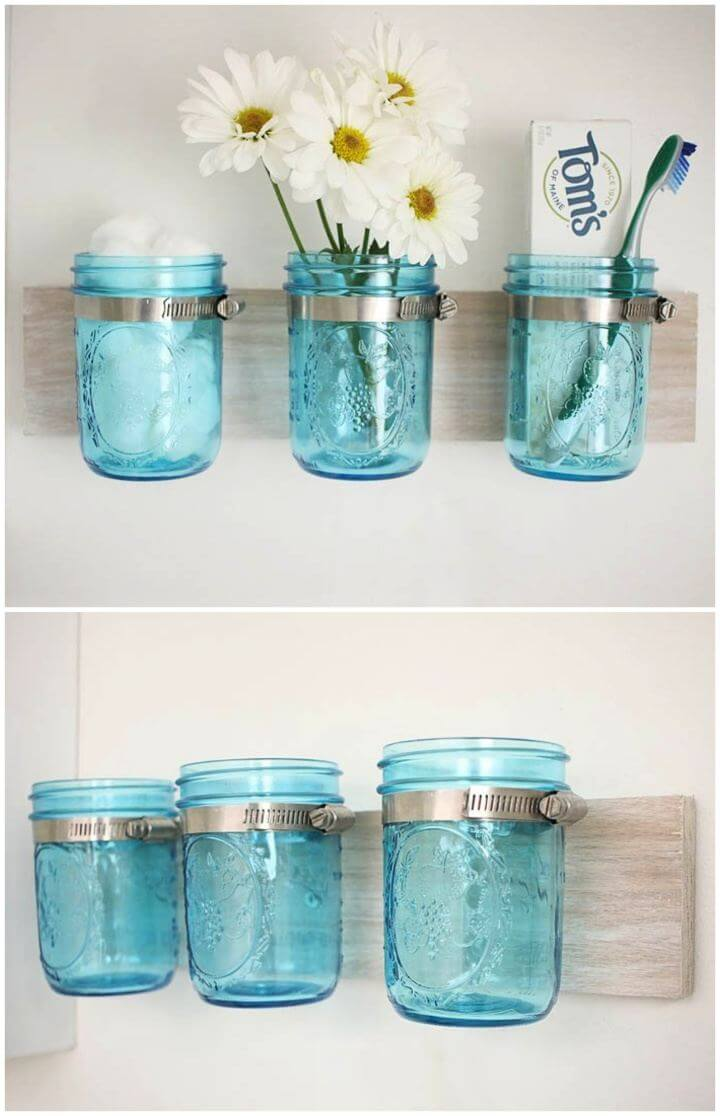 DIY Coastal Mason Jar Wall Hanging Organizer