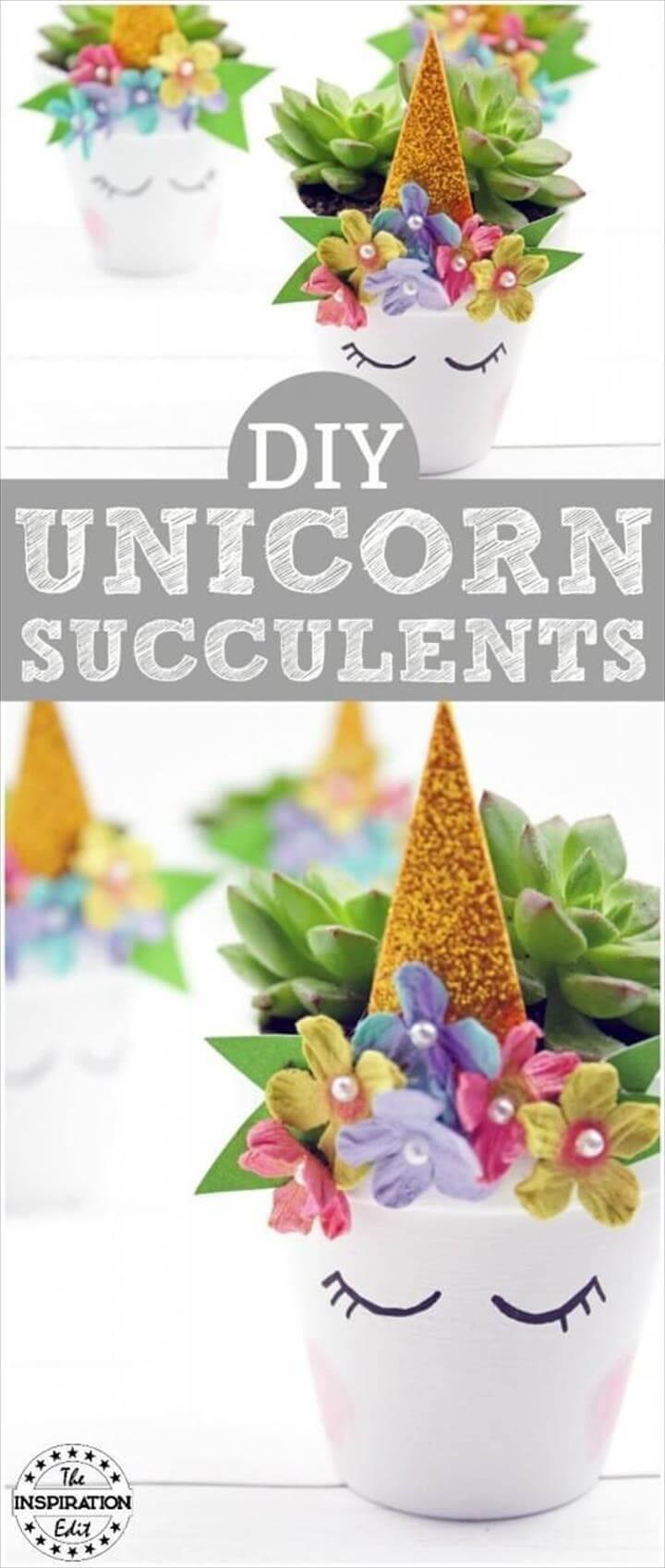 DIY Colorful Unicorn Succulent Planters