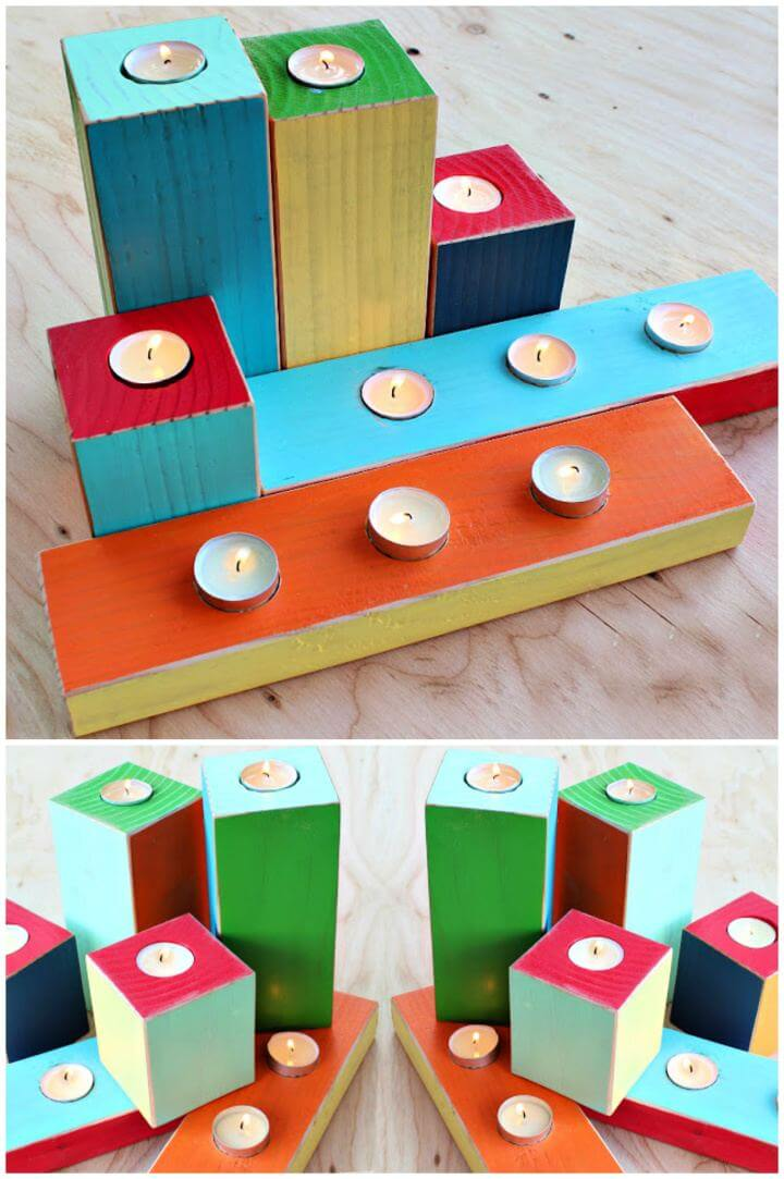 DIY Colorful Wood Block Candle Holders