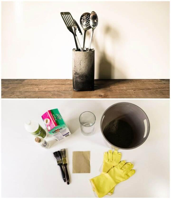 DIY Concrete Kitchen Utensil Holder