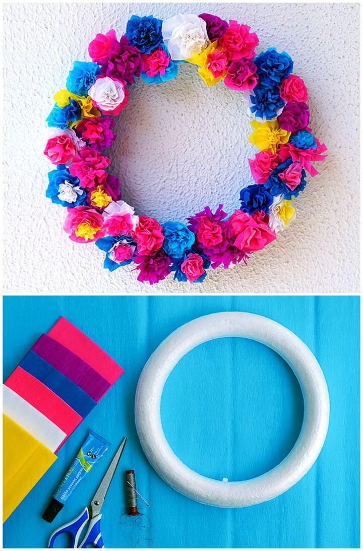 DIY Crepe Paper Flower Spring Wreath