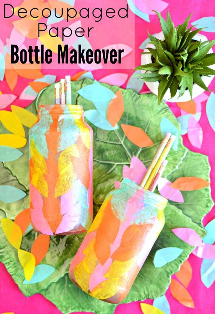 DIY Decoupaged Tissue Paper Bottle Idea