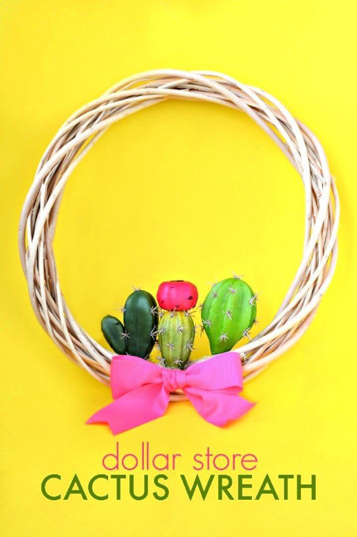 DIY Dollar Store Cactus Spring Wreath