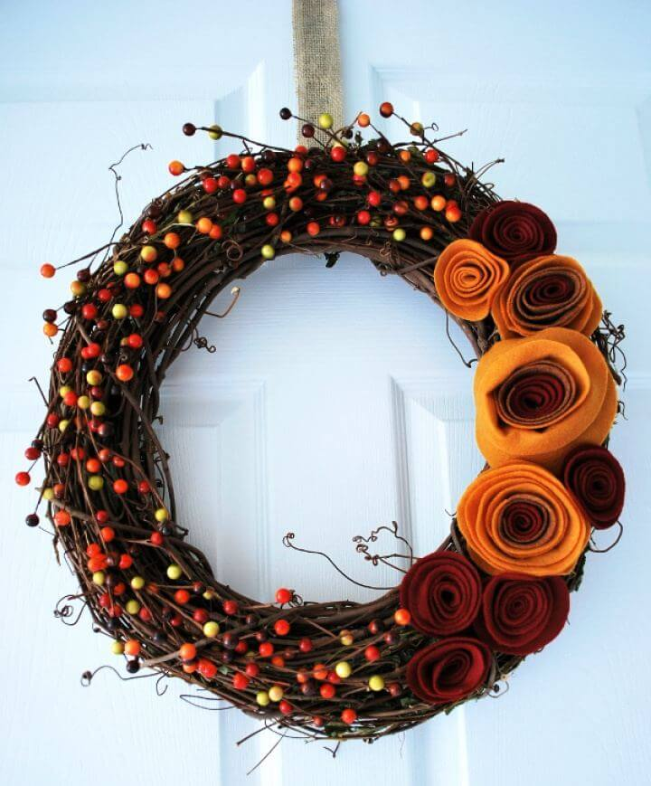DIY Door Fall Wreath with Felt Rosettes