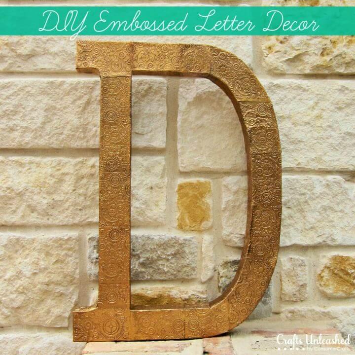 DIY Embossed Monogram Letter Wall Decor