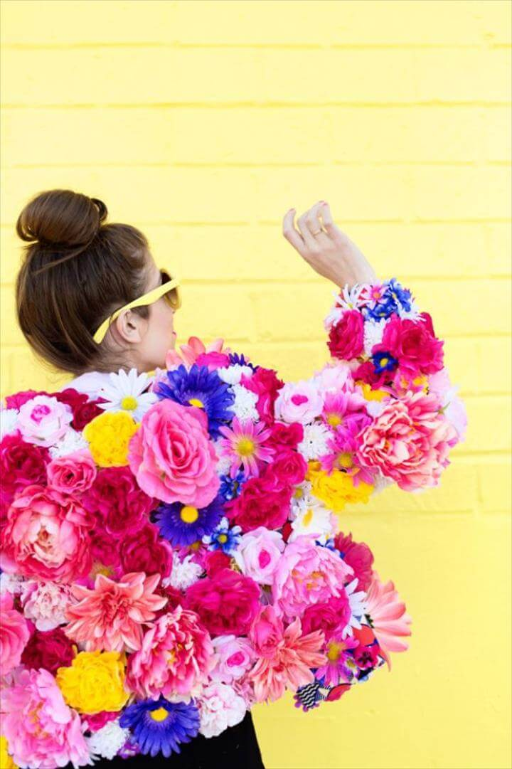 DIY Ideas With Faux Flowers - DIY Faux Flower Coat - Paper, Fabric, Silk
