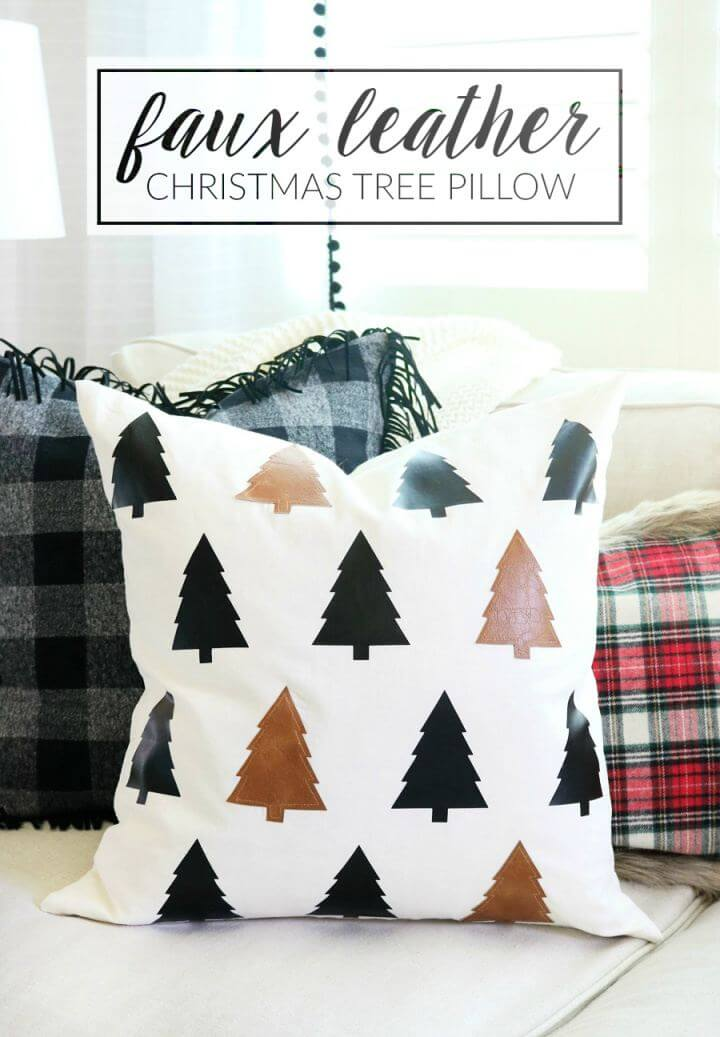 DIY Faux Leather Tree Pillow For Home