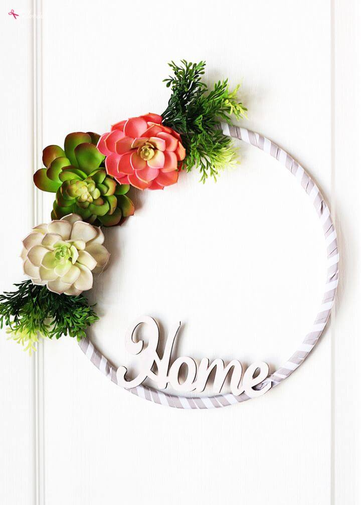 DIY Faux Succulent Embroidery Hoop Spring Wreath