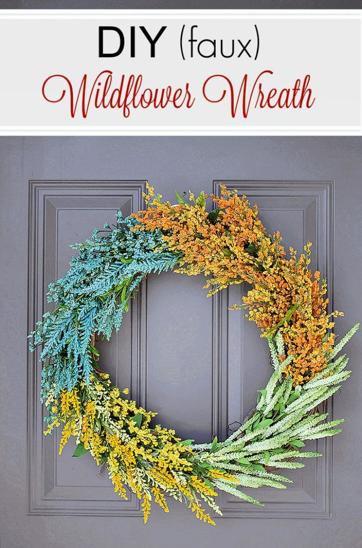 DIY Faux Wildflower Spring Wreath