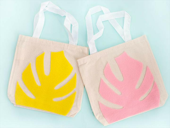 DIY Felt Monstera Leaf Canvas Tote Bag