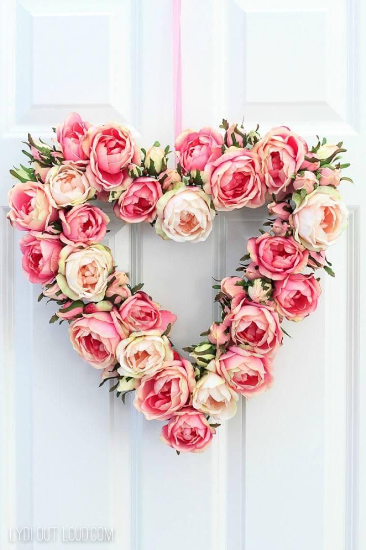 DIY Floral Valentine's Day Spring Wreath