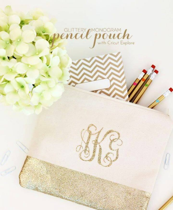 DIY Glitter Monogram Pencil Bag