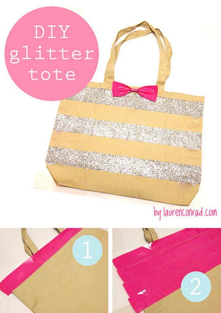 DIY Glitter Striped Bow Tote With Notebook