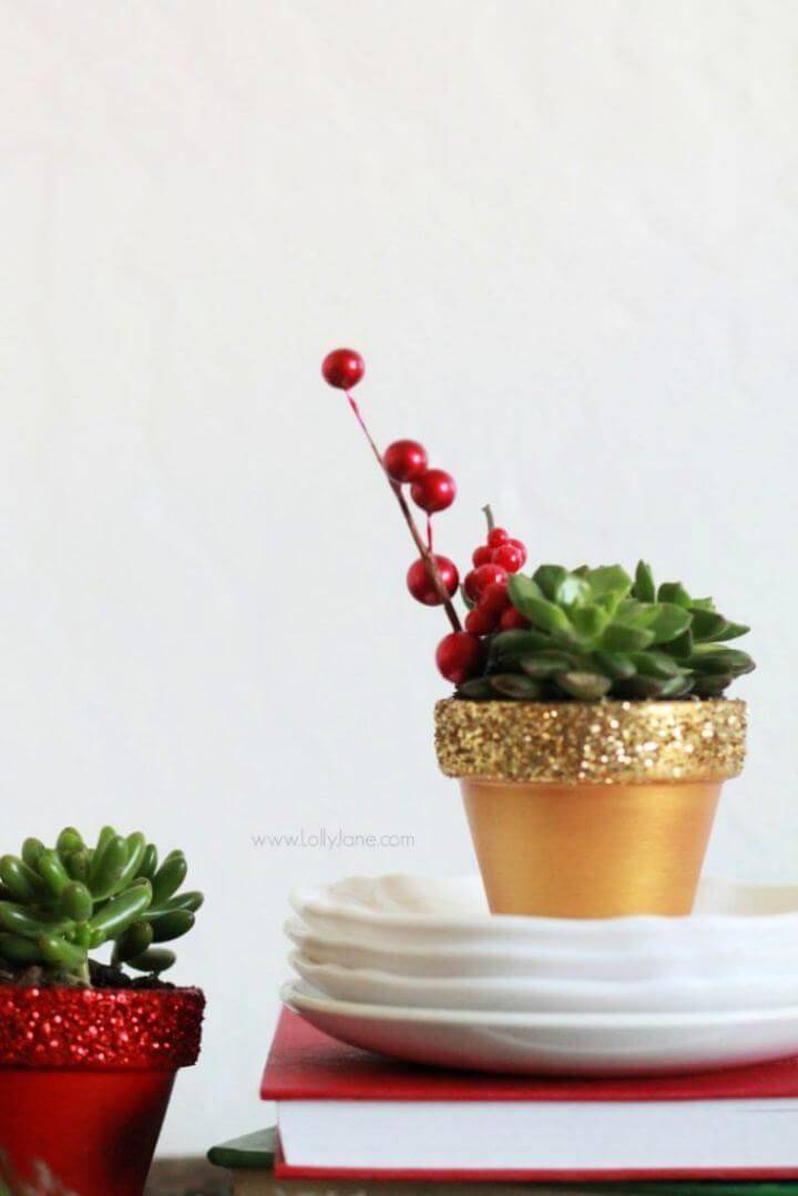 DIY Glitter Succulent Planters