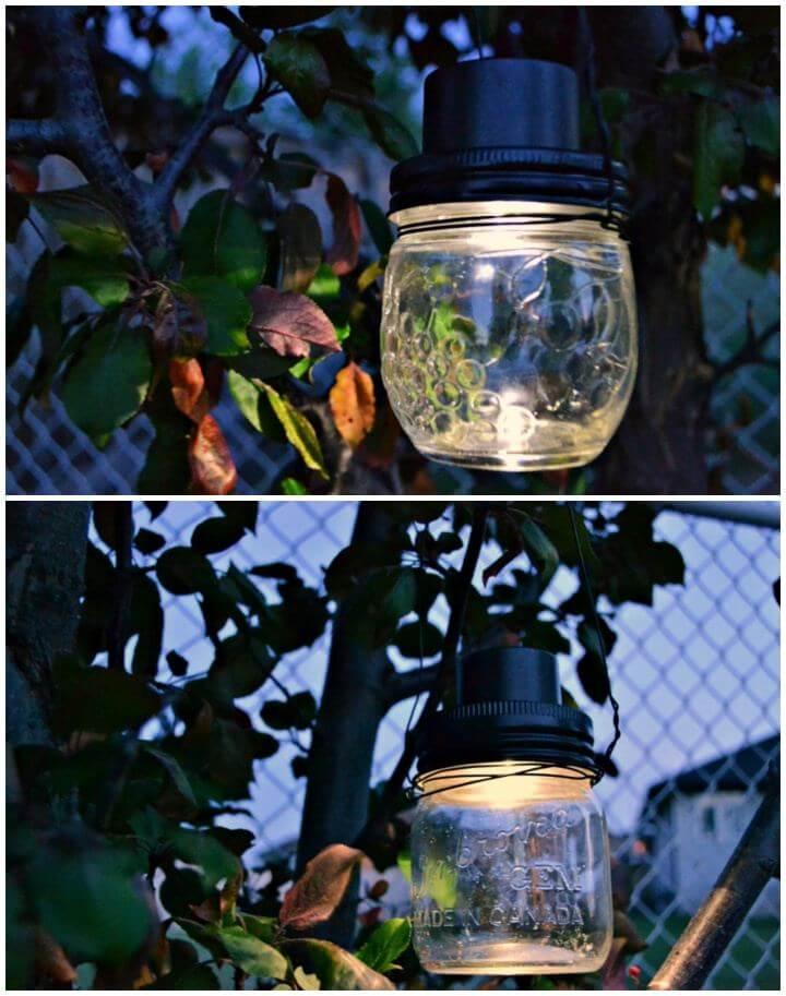 DIY Hanging Mason Jar Solar Lights