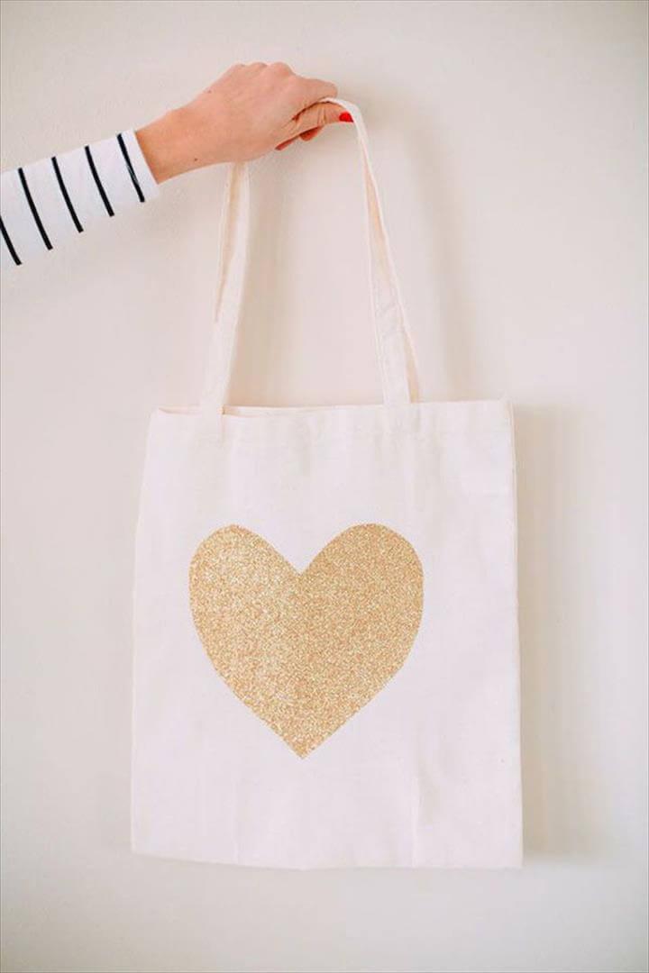DIY bridesmaid gift gold glitter canvas tote