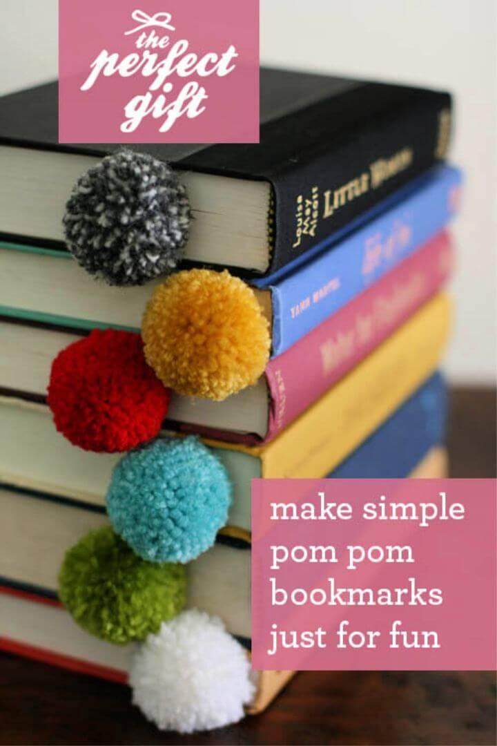 DIY How To Make Yarn Pom Pom Bookmark