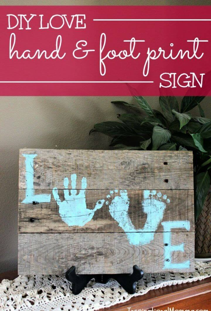 DIY Love Hand Foot Print Pallet Sign