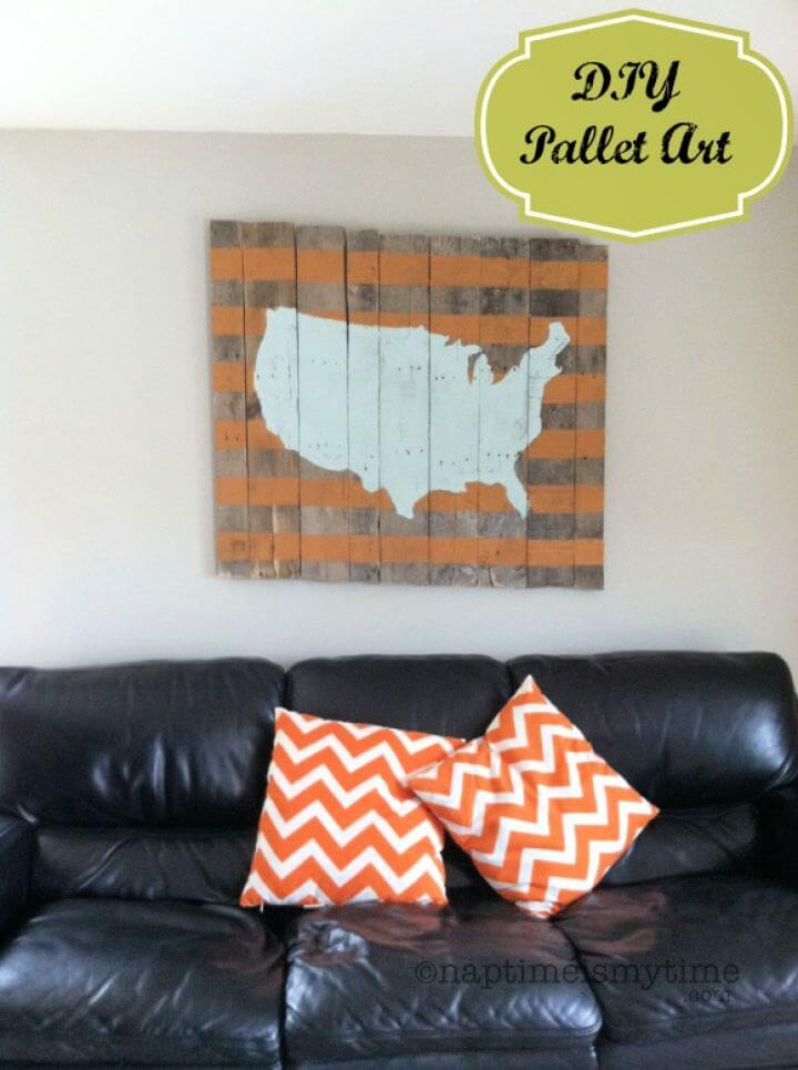 DIY Map Of The USA Wood Pallet Art