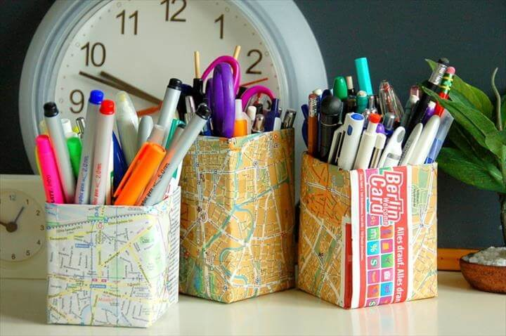 DIY Map Pencil Holder