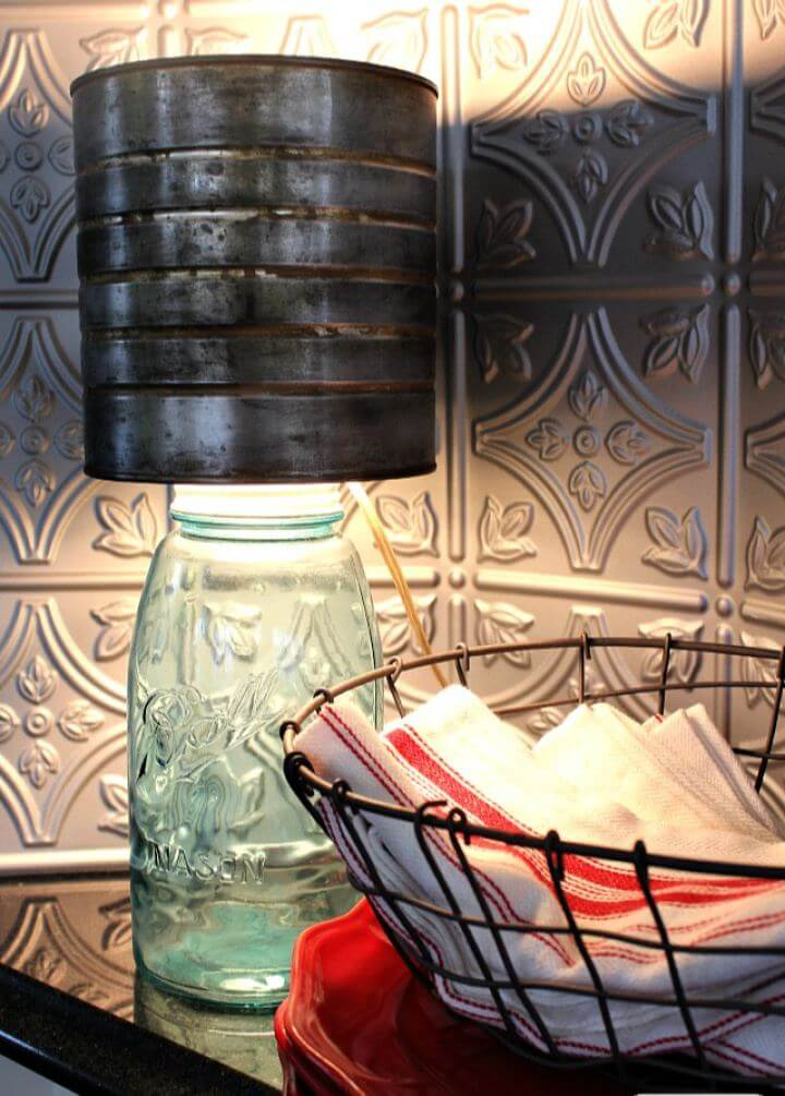 DIY Mason Jar Lamp with Faux Zinc Shade