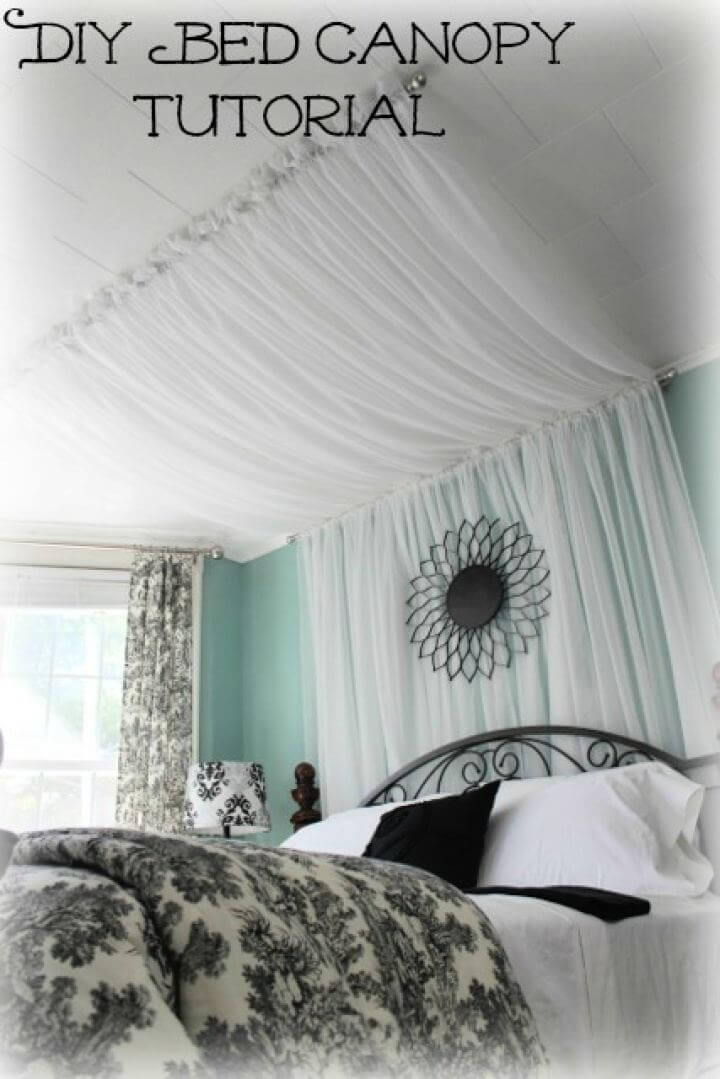 DIY Master Bedroom Bed Canopy Curtains Tutorial