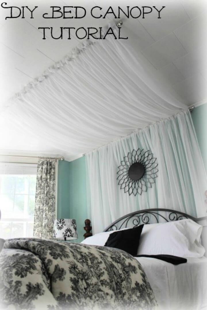 DIY Master Bedroom Bed Canopy Curtains Tutorial