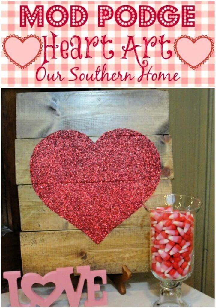 DIY Mod Podge Heart Art